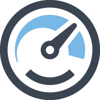 Increased productivity icon - blue gauge